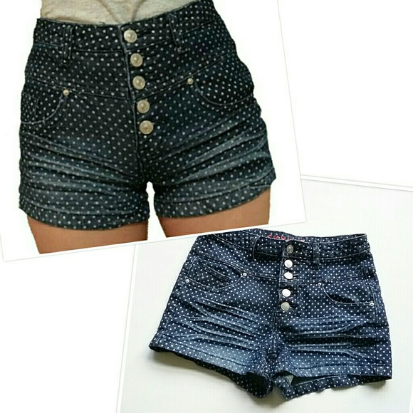 dELiA*s Pants - Delia's High Waist Polka Dot Buttonfly Jean Shorts